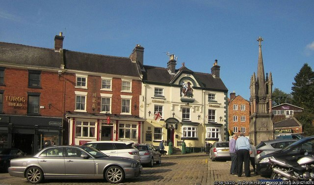 Ashbourne market square with george and dragon pub in background